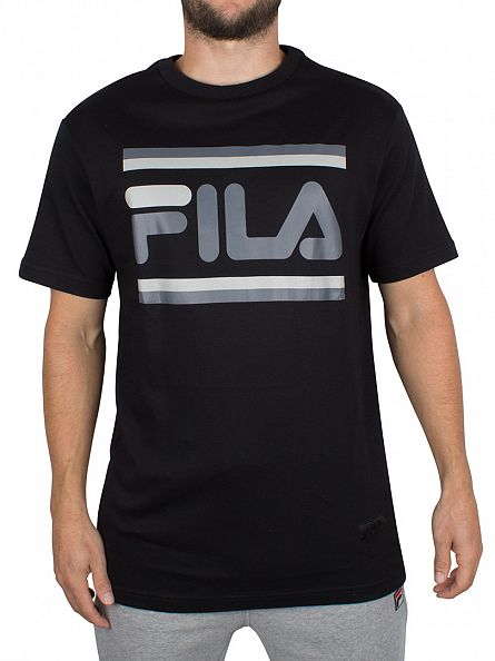 Fila Vintage Black Vialli Interlock Graphic T-Shirt