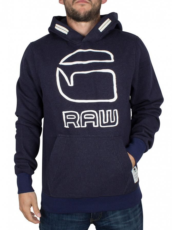 G-Star Dark Saru Blue Heather Vasif Graphic Hoodie