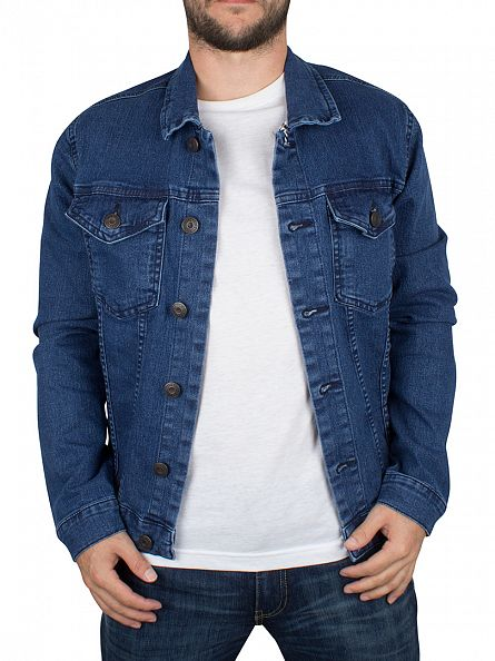 Only & Sons Medium Blue Denim Chris Camp Med Denim Jacket