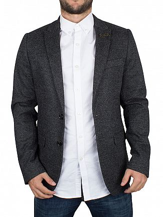 SCOTCH & SODA COMBO A GREY KNITTED WOOL BLAZER