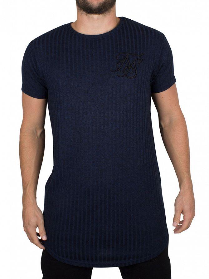 Sik Silk Navy High Definition Marled Curved Hem T-Shirt
