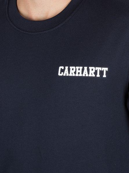 Carhartt WIP Navy/White College Script Logo Sweatshirt