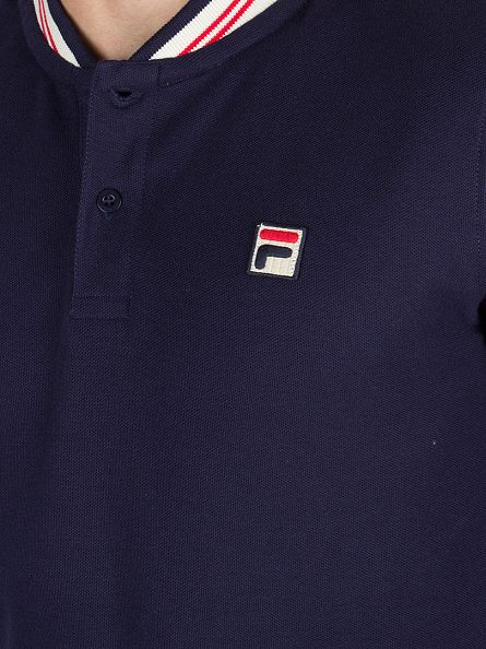 Fila Vintage Peacoat Longsleeved Rocca Base Ball Logo Polo Shirt
