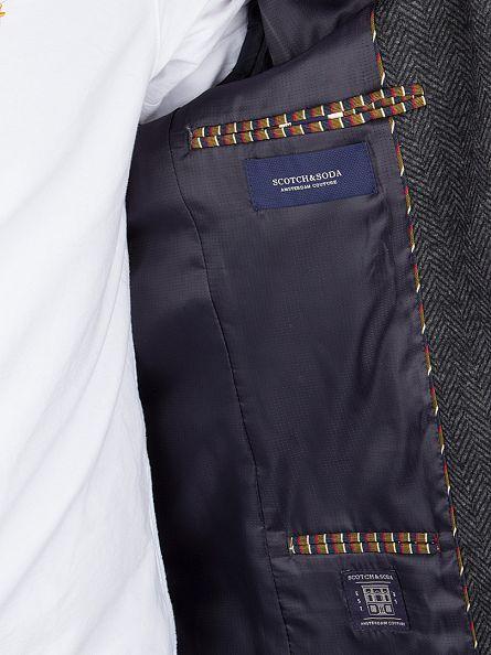 Scotch & Soda Combo A Grey Knitted Wool Blazer