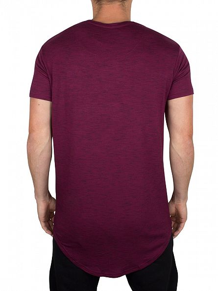 Sik Silk Burgundy Marled Curved Hem Logo T-Shirt
