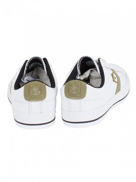 Converse White/Jute/Black Star Player Leather OX Trainers