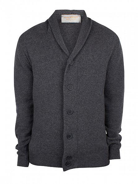 John Smedley Charcoal Patterson Chunky Knit Cardigan