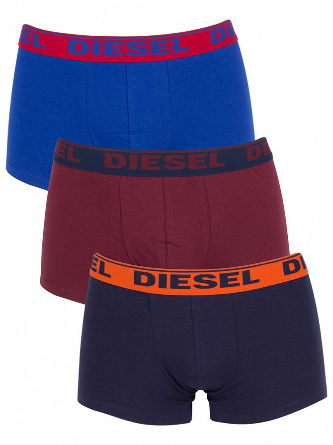 Diesel Navy/Burgundy/Royal UMBX Shawn 3 Pack Trunks