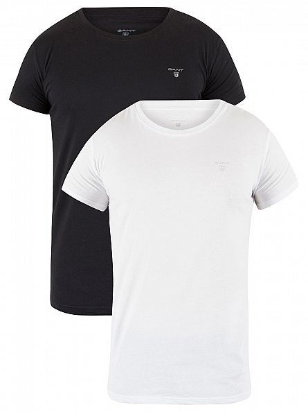 Gant White/Black 2 Pack Essential Basic T-Shirts