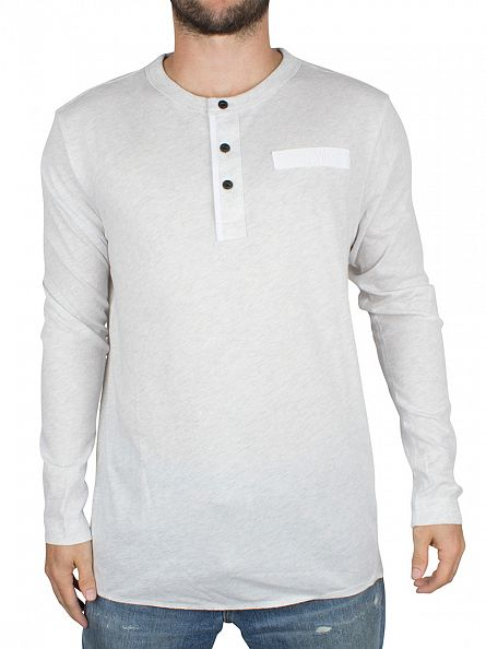 G-Star White Heather Longsleeved Classic Grandad Logo T-Shirt