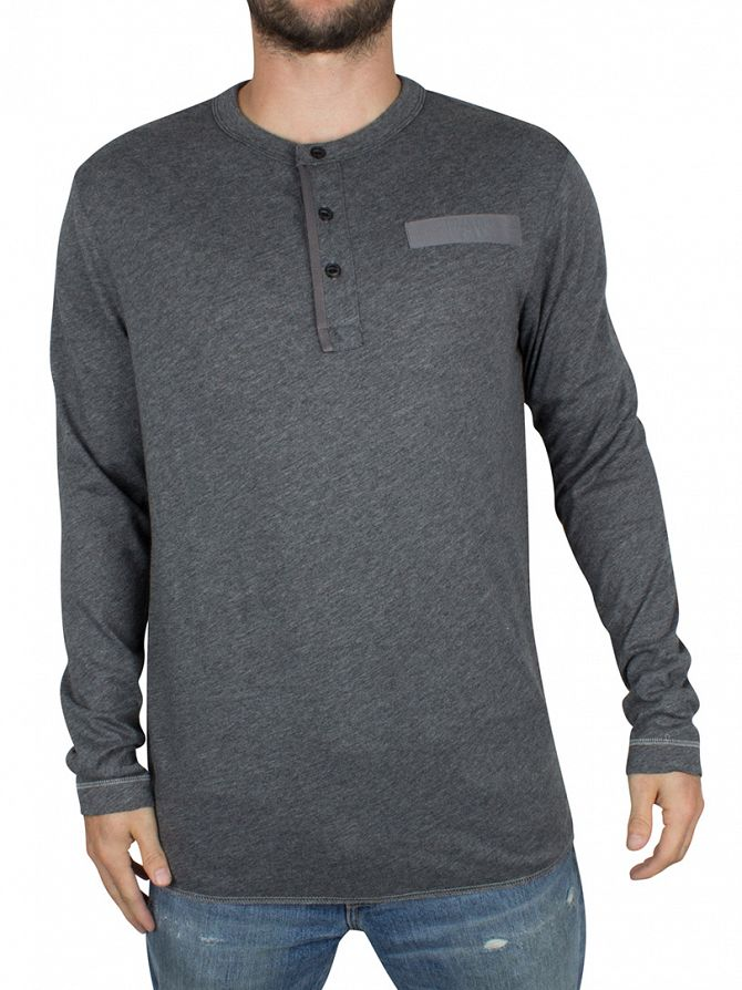 G-Star Grey Heather Longsleeved Classic Grandad Logo T-Shirt