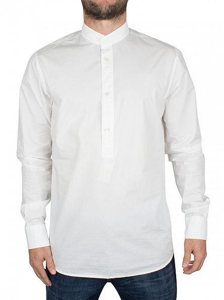 J Lindeberg Off White Slim Fit Daniel SC Granpa Soft Half Button Up Shirt