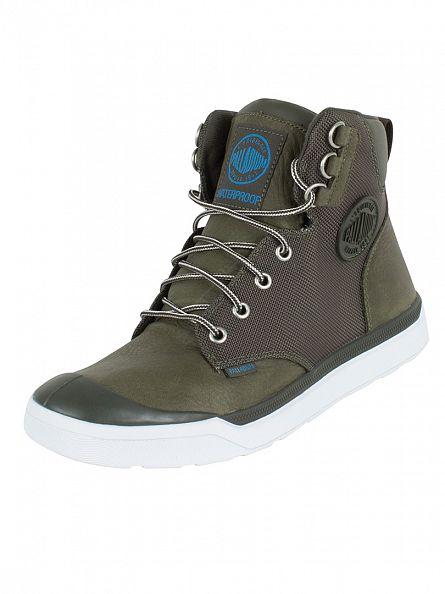 Palladium Army Green/White Pallarue Hi Cuff WP Boots