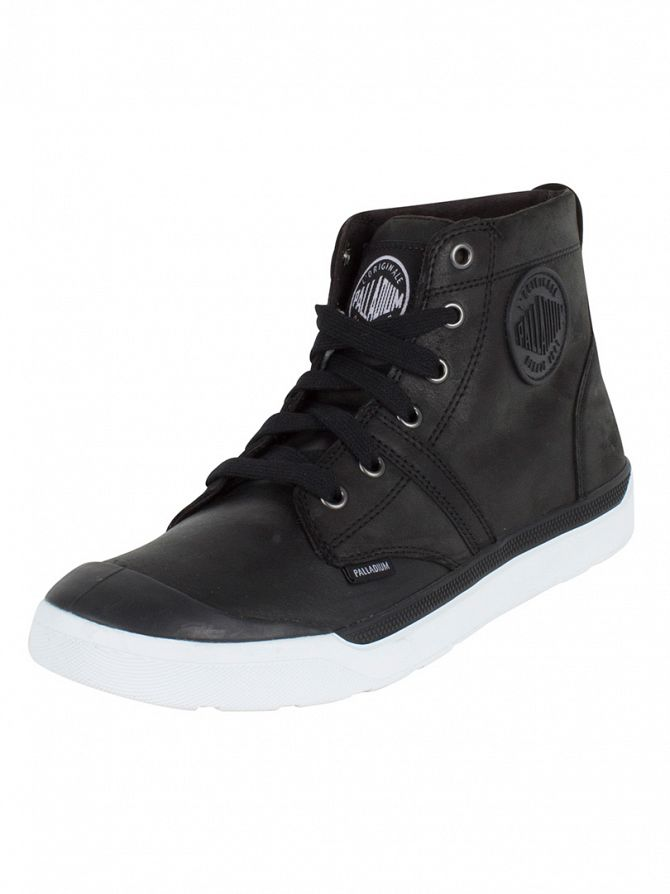 Palladium Black/White Pallarue Hi Leather Boots