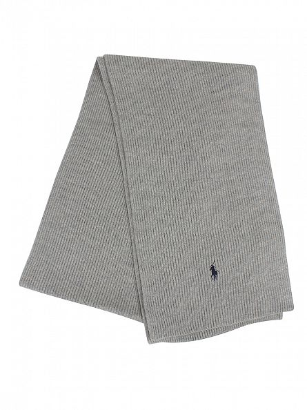 Polo Ralph Lauren Fawn Grey Heather Rib Logo Scarf