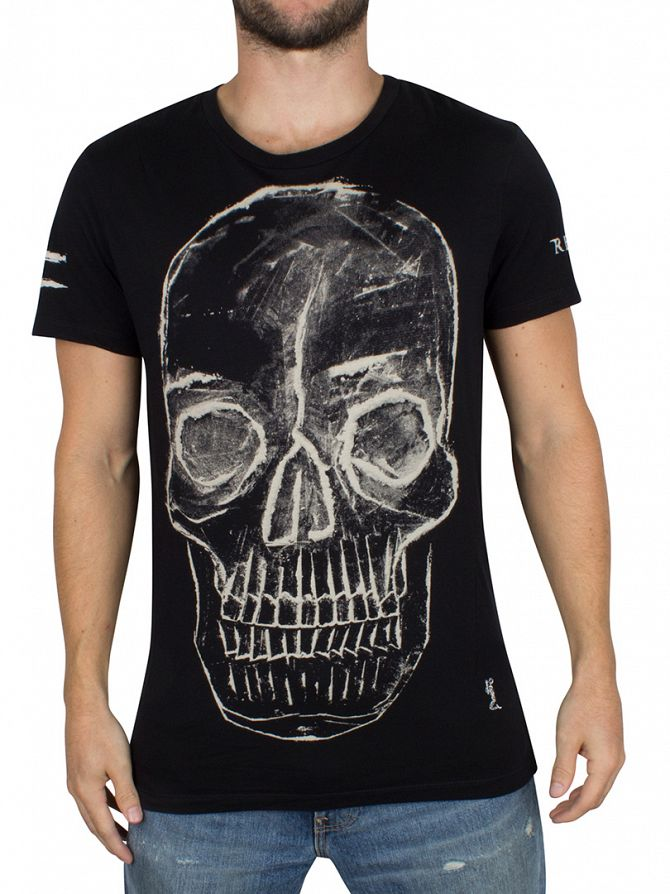 Religion Black Bumped Skull Graphic T-Shirt