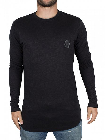 Religion Black Longsleeved Curved Hem Logo T-Shirt