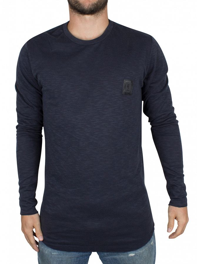 Religion Peacoat Longsleeved Curved Hem Logo T-Shirt