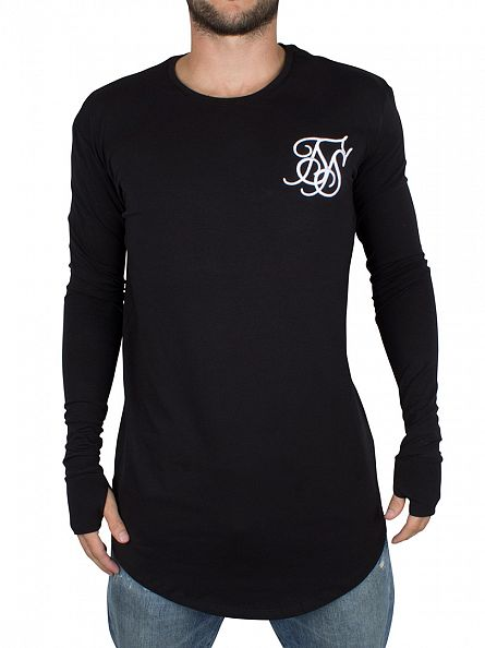 Sik Silk Black Longsleeved Base Layer Curved Hem T-Shirt
