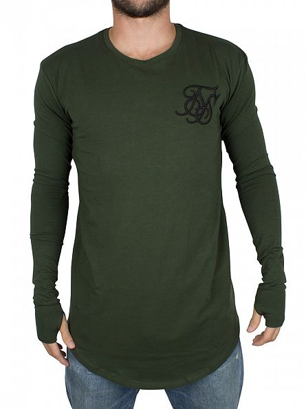 Sik Silk Forest Green Longsleeved Base Layer Curved Hem T-Shirt