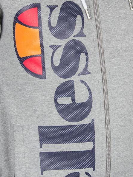 Ellesse Athletic Grey Marl Ravenna Vertical Graphic Zip Hoodie