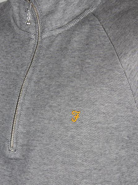 Farah Vintage Ecru Grey Hirsch Zip Logo Sweatshirt