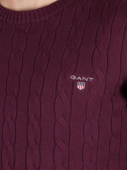 Gant Purple Fig Cotton  Cable Logo Sweatshirt