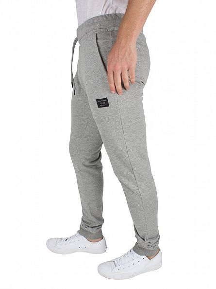 Jack & Jones Light Grey Marl Identity Tight Fit Logo Joggers