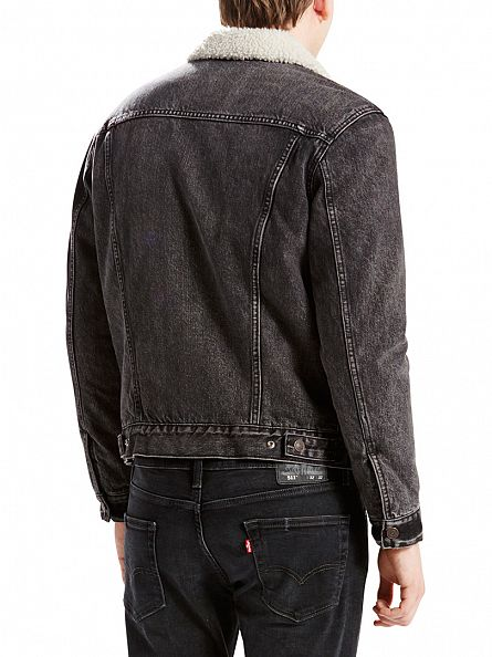 Levi's Charcoal Type 3 Brusted Sherpa Trucker Jacket