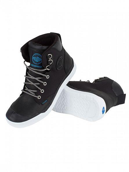 Palladium Black/White Pallarue Hi Cuff WP Boots