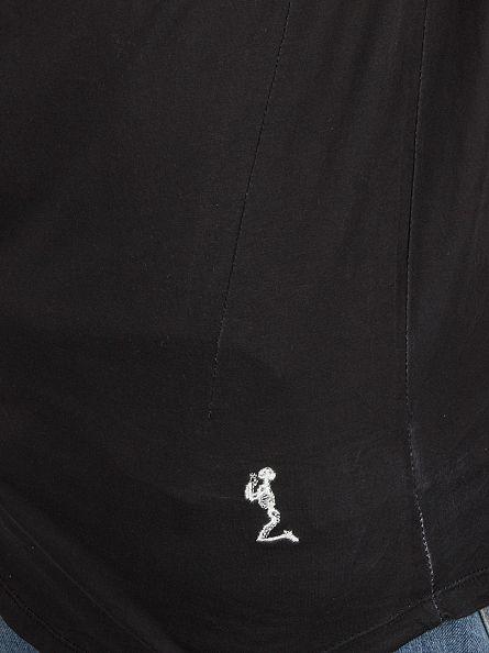 Religion Black Skeleton Lily Neck T-Shirt