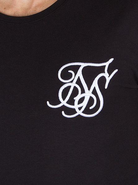 Sik Silk Black Longsleeved Base Layer Curved Hem T-Shirt