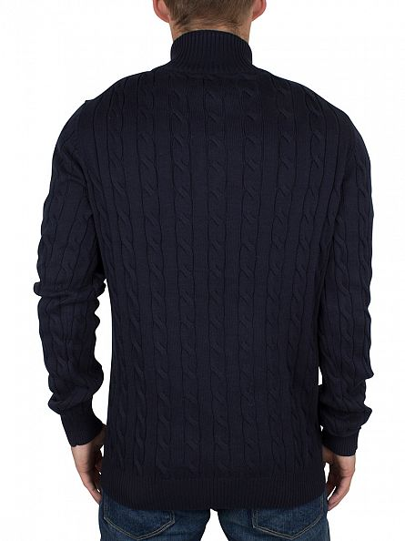 Gant Evening Blue Cotton  Cable Logo Mock Neck