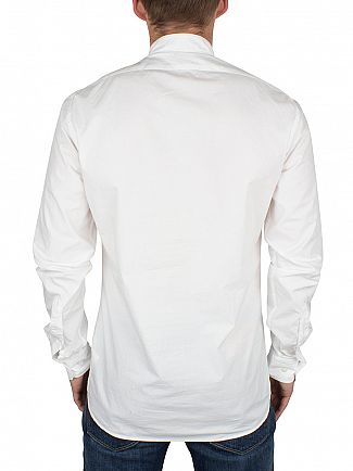 J Lindeberg Off White Slim Fit Daniel SC Granpa Soft Half Button Up Shirt