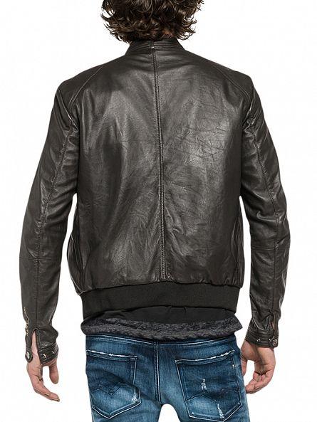 Replay Black Leather Biker Jacket