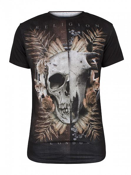 Religion Black Skull Hybird Graphic T-Shirt