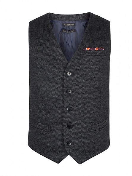 Scotch & Soda Charcoal Classic Knitted Gilet Waistcoat