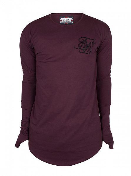 Sik Silk Burgundy Longsleeved Base Layer Curved Hem T-Shirt