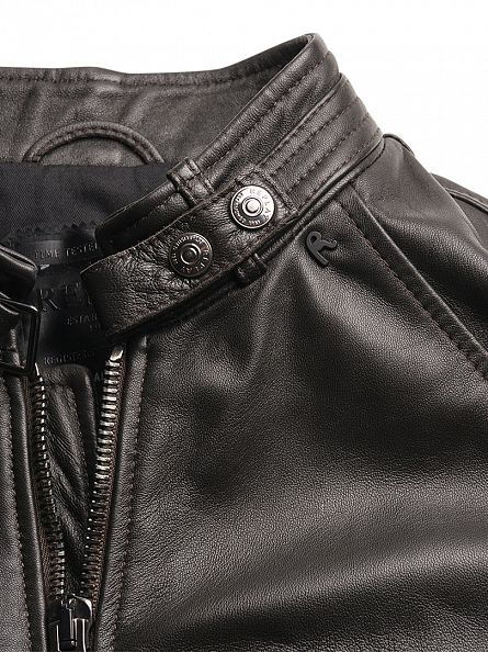 Replay Black Leather Biker Jacket
