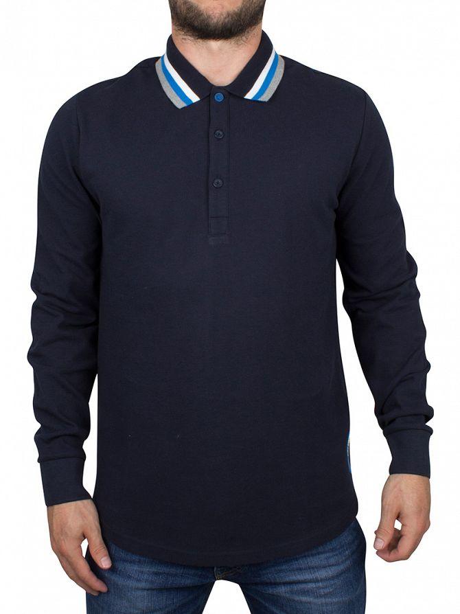 Ellesse Navy Italia Longsleeved Verona Tipped Polo Shirt
