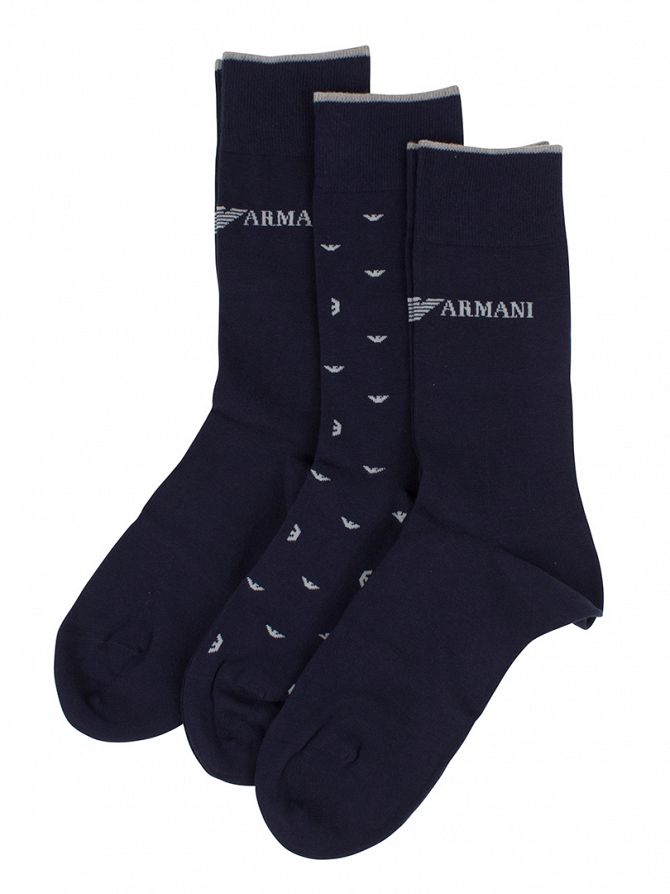 Emporio Armani Navy 3 Pack Logo Socks Box
