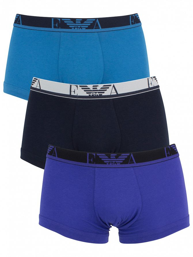 Emporio Armani Light Blue/Navy/Royal Blue 3 Pack Logo Waistband Trunks