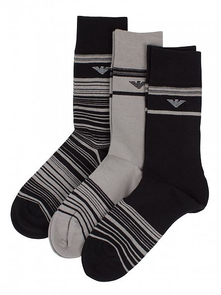 Emporio Armani Black/Grey/Navy 3 Pack Striped Socks Box