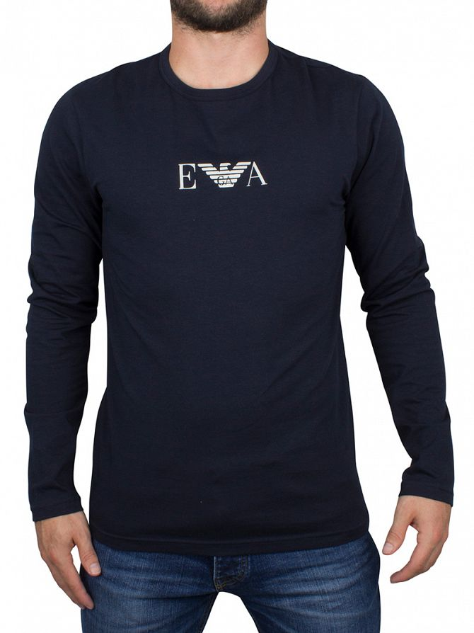 Emporio Armani Navy Longsleeved Logo T-Shirt
