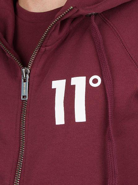 11 Degrees Burgundy Core Zip Logo Hoodie