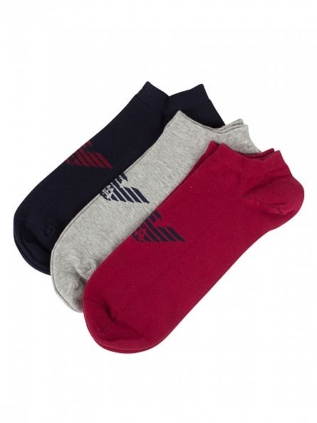 Emporio Armani Red/Navy/Grey 3 Pack Ankle  Socks