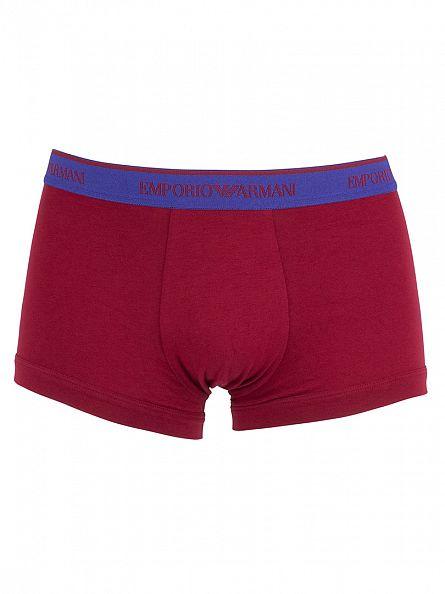 Emporio Armani Purple/Red/Navy 3 Pack Logo Waistband Trunks