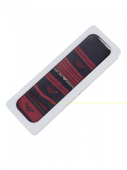 Emporio Armani Red/Black 3 Pack Striped Socks Box