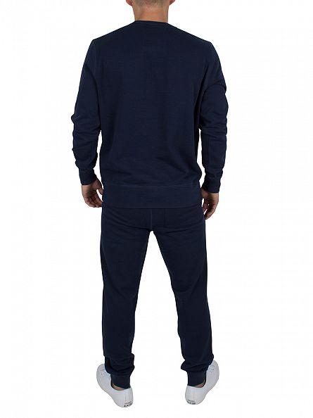 Franklin & Marshall Navy Stamp & Text Sweatshirt Tracksuit