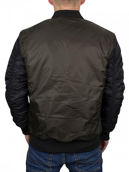 Sik Silk Khaki Peak Bomber Raglan Logo Jacket